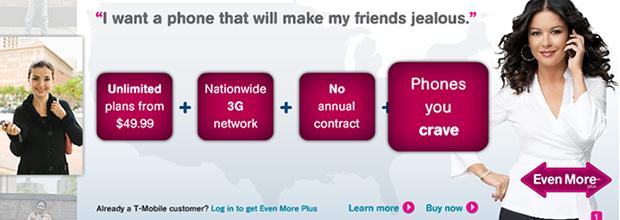 T-Mobileのランディングページ